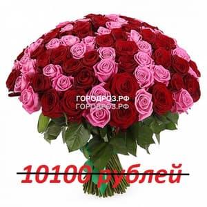 Букет из 101 красной и розовой розы