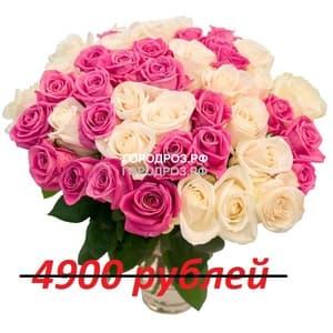 Букет из 49 розовых и белых роз