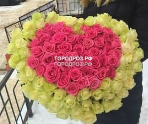 Розовое сердце в корзине  с белым кантом из 101 розы